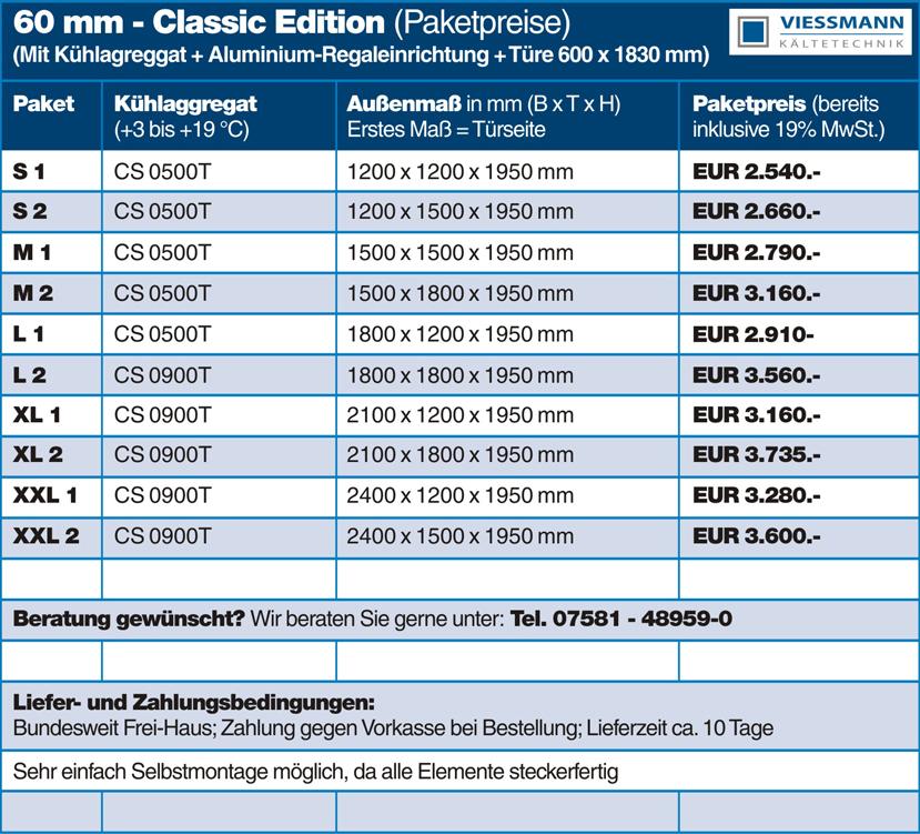 Türmaße  Classic Edition Viessmann Kühlzellen - Preisliste